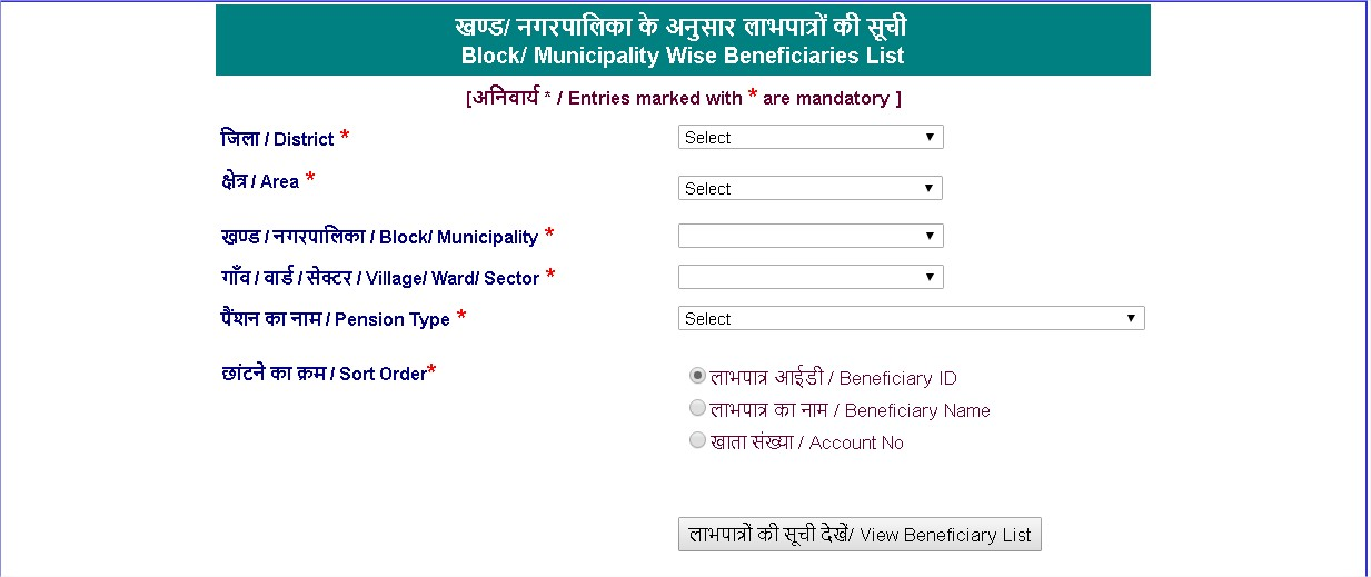 Budhapa Haryana Pension Beneficiary List