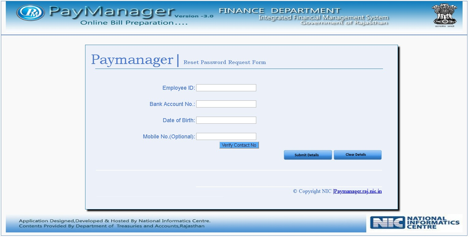 Paymanager Reset Password