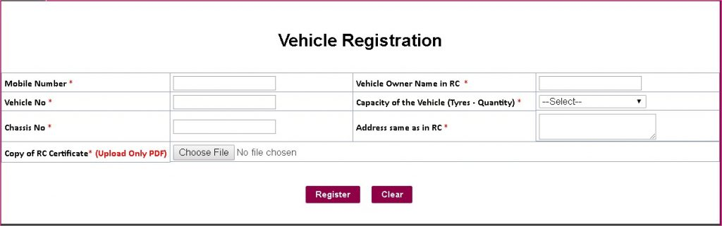 Lorry Or Any Vehicle Booking Registration