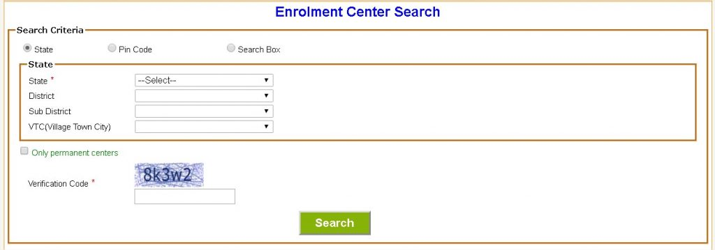 Enrolment Center Search
