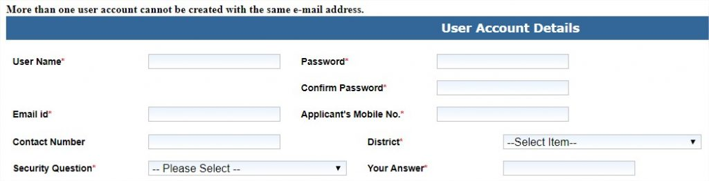 SSDG EForms Application User Account Details