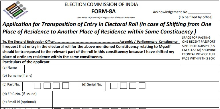change your electoral constituency from one to another